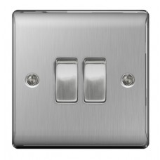 BG Nexus 2 Gang 2 Way Metal Switch with Brushed Steel Plate NBS42