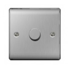 BG  1 Gang 2 Way Dimmer Switch with Brushed Steel Plate NBS81P