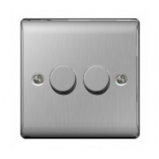 BG 2W Dimmer Switch brushed steel  NBS82P 2G 400W