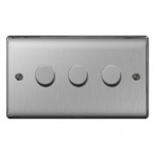 BG  2W Dimmer Switch Brushed Steel NBS83P 3G 400W