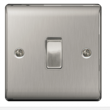 BG 1 Gang  2 Way Switch in brushed steel NBS12